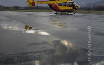 EC-145 Dragon 38 de la Sécurité Civile posé sur l'aérodrome du Versoud