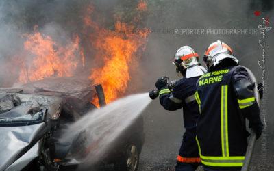 Sapeurs-pompiers de la Marne en formation incendie