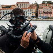 Plongeur de l'EODMU 8 capelant sont recycleur [Ref:4316-14-0779]