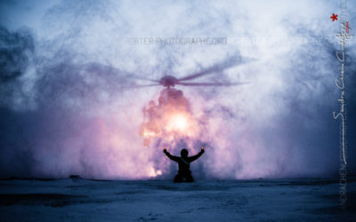 Posé d'un AS332 Super-Puma dans les neiges arctiques