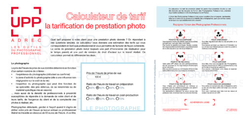 Le calculateur de tarif de prestation photo de l'UPP