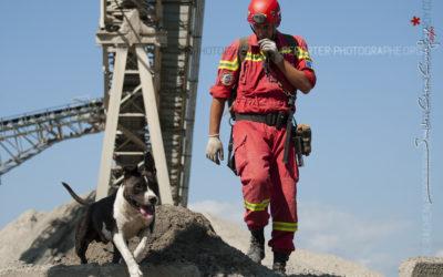 Dominique & Cobalt, équipe cynophile de recherche en décombres
