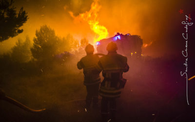 Binôme de pompiers devant les flammes [Ref:2410-13-0390]